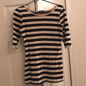 BDG Urban Outfitters Navy/White/Tan Striped Top